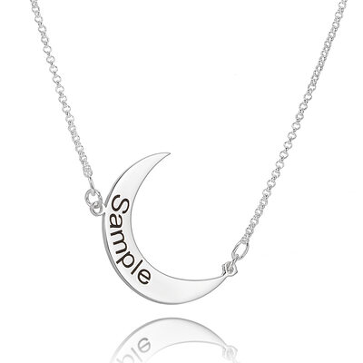 Custom Sterling Silver Engraving/Engraved Simple Engraved Necklace With Moon - Birthday Gifts Mother's Day Gifts