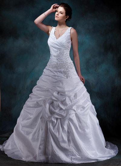 A-Linie/Princess-Linie V-Ausschnitt Hof-schleppe Taft Brautkleid mit Rüschen Perlen verziert Applikationen Spitze