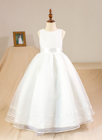Plesové Délka na zem Flower Girl Dress - Organza Bez rukávů Scoop Neck S Luk (Petticoat NOT included)