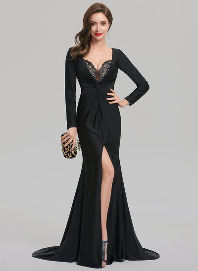 Sheath/Column V-neck Court Train Jersey Evening Dress