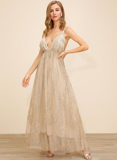 A-Line V-neck Ankle-Length Polyester Cocktail Dress With Sequins