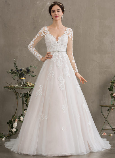 b9ddaa4fedb3a Ball-Gown/Princess V-neck Court Train Tulle Wedding Dress With Beading  Sequins