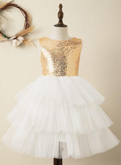 A-Line Knee-length Flower Girl Dress - Tulle/Sequined Sleeveless Scoop Neck