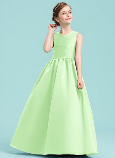 Платье Для Балла/Принцесса V-образный Длина до пола Атлас Платье Юнных Подружек Невесты с Рябь