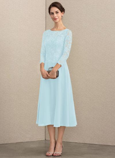 Corte A Decote redondo Comprimento médio Tecido de seda Renda Vestido para a mãe da noiva com lantejoulas