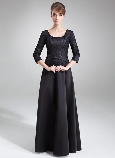 Corte A/Princesa Escote redondo Hasta el suelo Satén Encaje Vestido de madrina