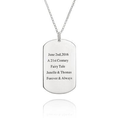 Custom Sterling Silver Tag Simple Engraved Necklace - Birthday Gifts Mother's Day Gifts