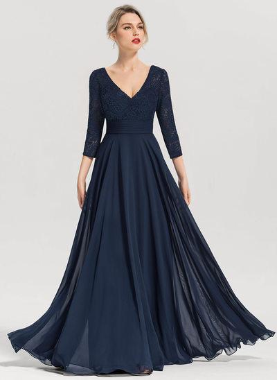 Vestidos princesa/ Formato A Decote V Longos Tecido de seda Vestido de festa