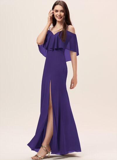 Платье-чехол Выкл-в-плечо Длина до пола шифон Платье Подружки Невесты с Разрез спереди