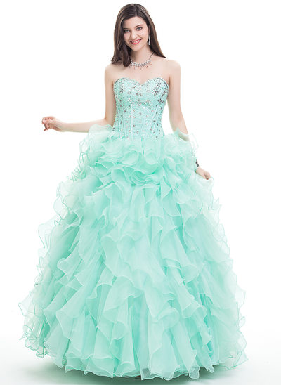 Ball-Gown Sweetheart Floor-Length Organza Prom Dress With Beading Sequins
