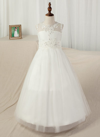 A-Line/Princess Floor-length Flower Girl Dress - Satin/Tulle/Lace Sleeveless Scoop Neck With Appliques