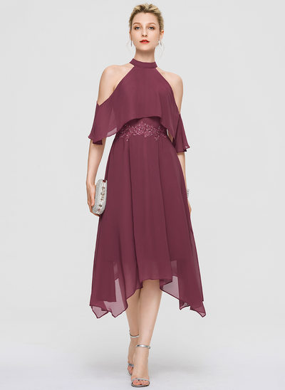 A-Line High Neck Asymmetrical Chiffon Cocktail Dress With Lace