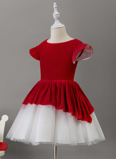 A-Line Knee-length Flower Girl Dress - Tulle/Velvet Short Sleeves Scoop Neck