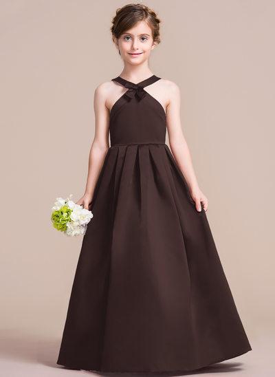 Vestidos princesa/ Formato A Decote redondo Longos Cetim Vestido de daminha júnior com Curvado