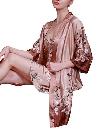 la mariée Demoiselle d'honneur Soie avec Longueur mollet Robes florales
