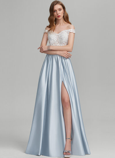 A-Line Off-the-Shoulder Floor-Length Satin Prom Dresses With Beading Sequins Split Front Pockets