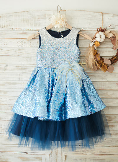 A-Line Knee-length Flower Girl Dress - Tulle/Sequined Sleeveless Scoop Neck With Feather