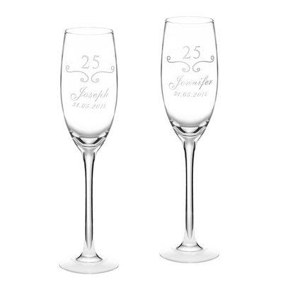Marié - Personnalisé Modern Style Verre Flûtes à Champagne (Lot de 2)
