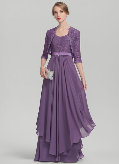 A-Line/Princess Scoop Neck Floor-Length Chiffon Lace Mother of the Bride Dress With Beading Cascading Ruffles