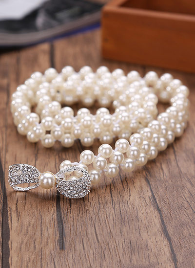 Fashional Imitation Pearls Belt With Rhinestones