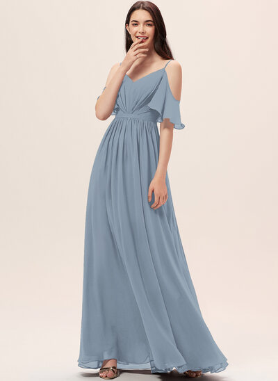 A-formet Off-the-Shoulder Gulvlengde Chiffong Brudepikekjole med Frynse