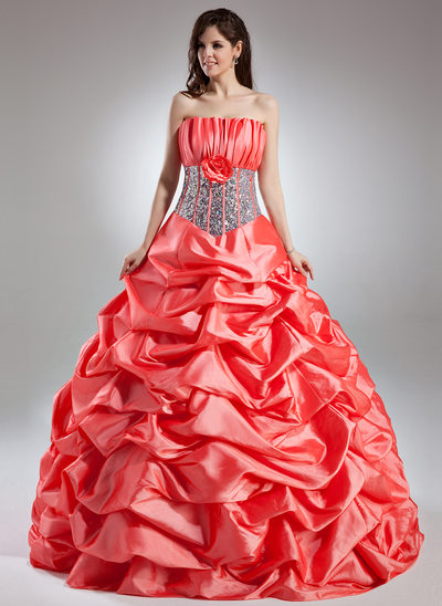 Ball-Gown Scalloped Neck Floor-Length Taffeta Prom Dress With Ruffle Flower(s) Sequins