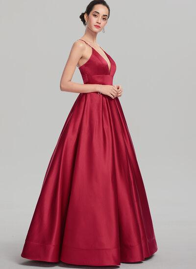 Plesové/Princess V-Výstřihem Délka na zem Satén Plesové šaty
