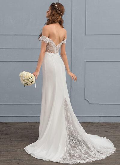 Trompete/Sereia Off-the-ombro Cauda de sereia Tecido de seda Renda Vestido de noiva com Beading lantejoulas