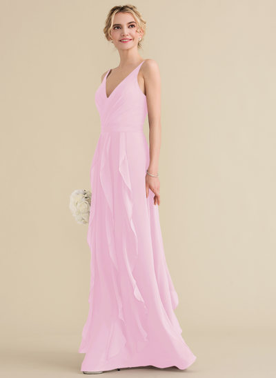 Corte A Decote V Longos Tecido de seda Vestido de baile