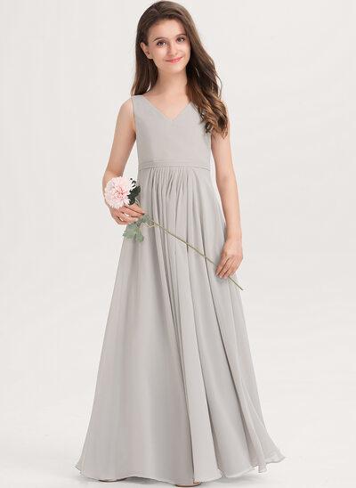 A-Linie V-Ausschnitt Bodenlang Chiffon Kleider für junge Brautjungfern mit Taschen