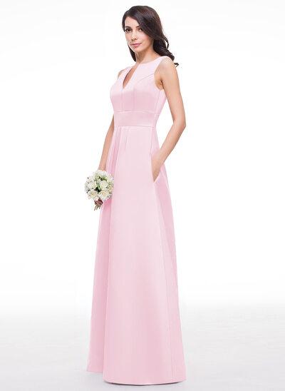 Vestidos princesa/ Formato A Decote V Longos Cetim Vestido de madrinha com Pregueado