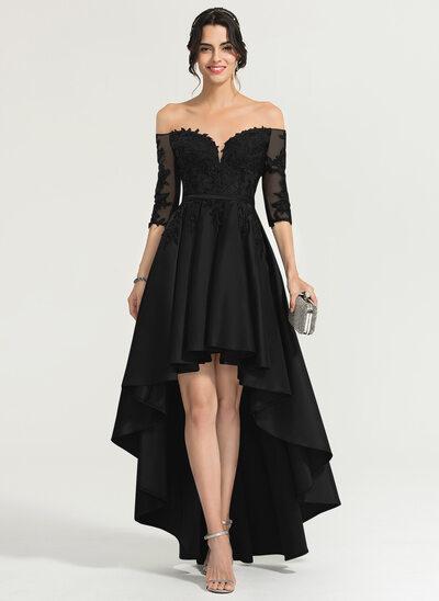 Трапеция Выкл-в-плечо асимметричный Атлас Платье Для Выпускного Вечера
