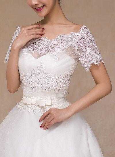 Kort ärm Spets Wedding Bolerojackor