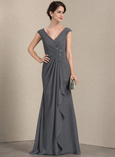 A-Line/Princess V-neck Floor-Length Chiffon Mother of the Bride Dress With Beading Sequins Cascading Ruffles