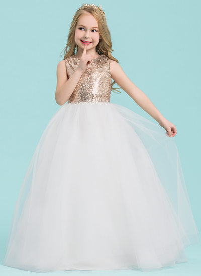 Balowa Do Podłogi Sukienka dla Dziewczynki Sypiącej Kwiaty - Tiul/Cekin Bez Rękawów Okrągły/ głęboko wycięty