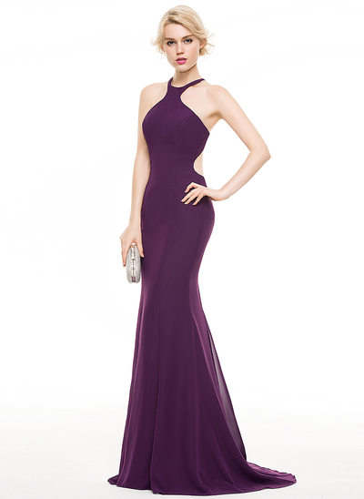 Trumpet/Mermaid Scoop Neck Sweep Train Chiffon Prom Dress With Bow(s)
