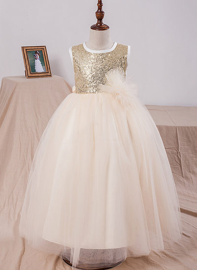 Ball Gown Floor-length Flower Girl Dress - Tulle/Sequined Sleeveless Scoop Neck With Sequins/Bow(s)