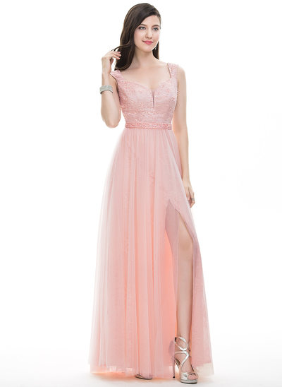 A-Line/Princess Sweetheart Floor-Length Tulle Prom Dress With Beading Sequins Split Front