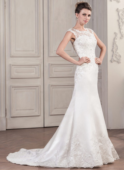 Trumpet/Mermaid Scoop Neck Chapel Train Satin Wedding Dress With Beading Appliques Lace Sequins