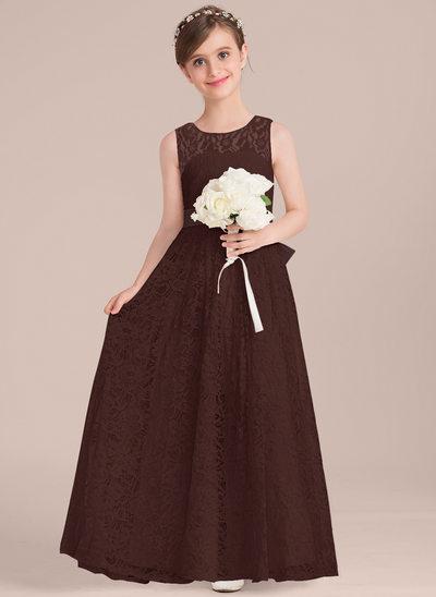 Vestidos princesa/ Formato A Decote redondo Longos Renda Vestido de daminha júnior com Cintos Curvado