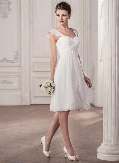 Corte A/Princesa Novio Hasta la rodilla Gasa Vestido de novia con Volantes