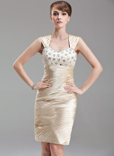 Sheath/Column Sweetheart Knee-Length Charmeuse Mother of the Bride Dress With Ruffle Beading