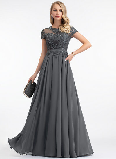 Corte A Decote redondo Longos Tecido de seda Vestido de festa com lantejoulas