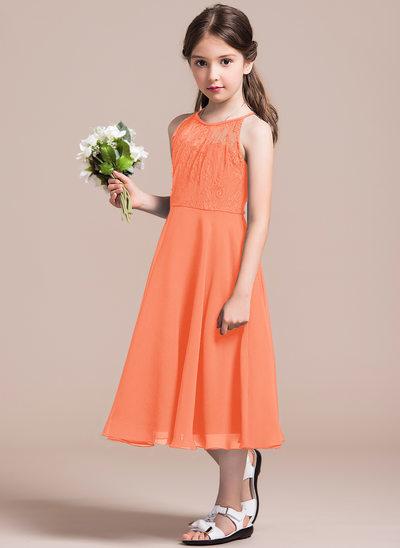Vestidos princesa/ Formato A Decote redondo Comprimento médio Tecido de seda Renda Vestido de daminha júnior com Pregueado