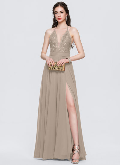 A-Line/Princess Halter Floor-Length Chiffon Prom Dresses With Split Front
