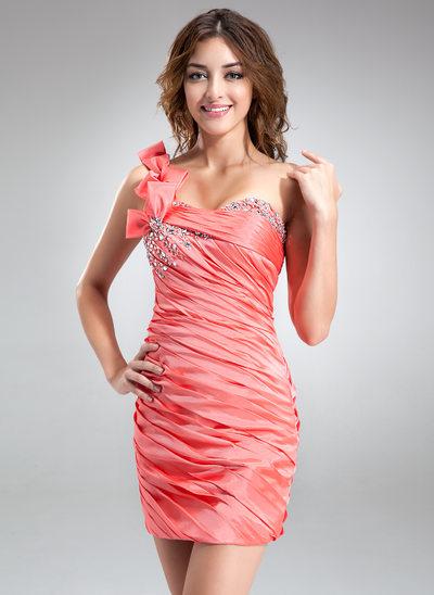 Sheath/Column One-Shoulder Short/Mini Taffeta Homecoming Dress With Ruffle Beading