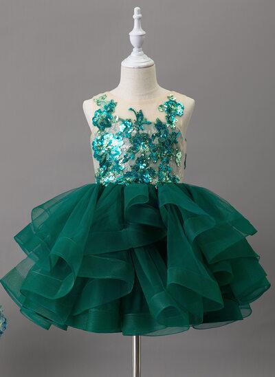 De Baile/Princesa Coquetel Vestidos de Menina das Flores - Tule/Renda/Lantejoulas Sem magas Decote redondo