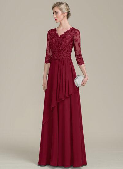 A-Linie V-Ausschnitt Bodenlang Chiffon Spitze Kleid für die Brautmutter mit Perlstickerei Pailletten Gestufte Rüschen
