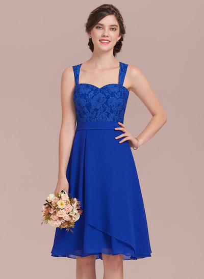 A-Line/Princess Sweetheart Knee-Length Chiffon Lace Bridesmaid Dress With Cascading Ruffles