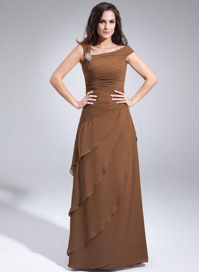 Çan/Prenses Off-Omuz Uzun Etekli Chiffon Gelin Annesi Elbisesi